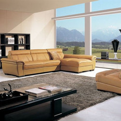 High End Curved Sectional Sofa in Leather - Modern design