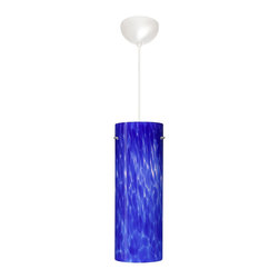 """Besa Lighting - 1VC-412886-WH Besa Lighting Tondo 18 - Comes with 10 Feet of SJT Cord. Compatible with a dimmer switch. UL Listed: suitable for Damp Locations. Tondo 18 is a classic open-ended cylinder of handcrafted glass, a shape that will stand the test of time. Our Blue Cloud glass is full of floating, splashes of blue tones over white that almost feels like a watercolor painting. This combination of color is crisp and timeless. This dEcor is created by rolling molten glass in small bits of blue hues called frit. The result is a multi-layered blown glass, where frit color is nestled between an opal inner layer and a clear glossy outer layer. The handcrafted touch of a skilled artisan, utilizing century-old techniques passed down from generation to generation, creates variations in color and design that are to be appreciated. The cord pendant fixture is equipped with a 10' SJT cordset and an """"Easy Install"""" dome monopoint canopy. These stylish and functional luminaries are offered in a beautiful White finish."""