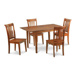 """East West Furniture - Milan 5Pc Set with Dining Table and 4 Portland Wood Seat Chairs - Milan 5Pc Set with Rectangular Table Featured 12 In Butterfly Leaf and 4 Wood Seat Chairs; Rectangular dining table is designed in contemporary style with clean angles and sleek lines.; Table and chairs are crafted of fine Asian solid wood for quality and longevity.; Chairs are available with either wooden seats or upholstered seats to suit preference and desired motif.; Table features a standard butterfly leaf for convenient extension.; Ladder back chair style is sturdy, durable, and is ideal for classic decor in any kitchen or dining room.; Dinette sets are available in either rich Mahogany or exquisite Saddle Brown finish.; Weight: 143 lbs; Dimensions: Table: 42 - 54""""L x 36""""W x 29.5""""H; Chair: 18""""L x 17""""W x 38.5""""H"""