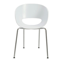 Michele Side Chair (Set Of 2)-White/Chrome - This whimsical side chair features a unique cutout in the backrest that almost looks like a cheerful smile. Take a seat in its comforting cocoon and see if it inspires you to grin from ear to ear.