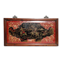 Golden Lotus - Chinese Vintage Opera Battle Scenery Decorative Wooden Panel - This vintage decorative panel was collected from a village northern China. It was once hung on the wall for decoration.