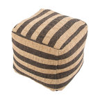 Mason Black Pouf - The Mason Pouf is made from natural fibers. With nautical inspired stripes, these poufs complete a rustic or coastal retreat home. Made in India.