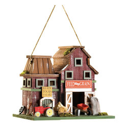 KOOLEKOO - Farmstead Birdhouse - Country living comes to town with this fabulous farm built for a lucky feathered family! Quaint all-wood birdhouse spares no detail in recreating an honest-to-goodness rustic barnyard scene.