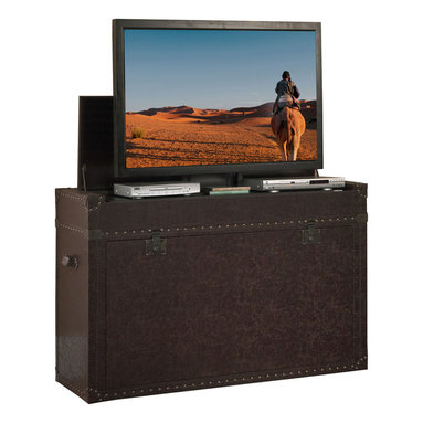 """Touchstone Home Products - Ellis Aged Cigar Leather Truck TV Lift Cabinet for Flat Screen up to 46"""" - The Ellis Trunk is one of our most popular TV lift cabinets that really shows it's versatility in just about any room in the house. Old World style meets modern technology in this steamer trunk styled show piece. The rich leather exterior in an aged cigar hue, artfully weathered and worn makes this TV lift cabinet a timeless piece for the home. The trunk features leather strap details and rugged hand-hammered grommets to lend an old world appeal to the modern technology housed inside. A treasure piece that is ideally suited for an end of bed location, bringing a unique and evocative styling to your bedroom decor. The Ellis Trunk is finished on both sides allowing you the freedom to use it as an end of bed cabinet or the focal point of your entertainment center in a living room, man cave, den, family room, or study. The cabinet comes equipped with a built-in shelf for components that rises with the TV and delivers the ultimate bedroom theater experience."""