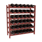36 Bottle Stackable Wine Rack in Pine with Cherry Stain + Satin Finish - A pair of discounted wine racks allow double wine storage at a low price. This rack accommodates all 750ml bottles, Pinots and Champagnes. The quintessential DIY wine rack kit. Your satisfaction is guaranteed.