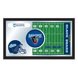 "Holland Bar Stool - Holland Bar Stool Maine Football Mirror - Maine Football Mirror belongs to College Collection by Holland Bar Stool The perfect way to show your school pride, our Football Mirror displays your school's symbols with a style that fits any setting.  With it's simple but elegant design, colors burst through the 1/8"" thick glass and are highlighted by the mirrored accents.  Framed with a black, 1 1/4 wrapped wood frame with saw tooth hangers, this 15""(H) x 26""(W) mirror is ideal for your office, garage, or any room of the house.  Whether purchasing as a gift for a recent grad, sports superfan, or for yourself, you can take satisfaction knowing you're buying a mirror that is proudly Made in the USA by Holland Bar Stool Company, Holland, MI.   Mirror (1)"