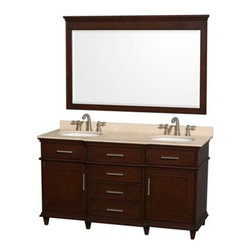 "Wyndham Collection(R) - Berkeley 60"" Double Bathroom Vanity by Wyndham Collection - Dark Chestnut - The Wyndham Collection is an entirely unique and innovative bath line. Sure to inspire imitators, the original Wyndham Collection sets new standards for design and construction. If your bathroom's asking you for a facelift, the Berkeley is a worthy choice. At once elegant, classic and contemporary, the Berkeley vanity lends an air of sophistication and charm to any bathroom, from a Soho penthouse to a rustic country home. Carefully hand built to last for decades and finished in White or Dark Chestnut, this solid wood vanity is trimmed with brushed chrome hardware to compete the timeless look. Available in multiple sizes and finishes. FeaturesConstructed of environmentally friendly, zero emissions solid Birch hardwood, engineered to prevent warping and last a lifetime12-stage wood preparation, sanding, painting and finishing processHighly water-resistant low V.O.C. sealed finishBeautiful transitional styling that compliments any bathroom Practical Floor-Standing DesignMinimal assembly requiredDeep Doweled DrawersFully-extending under-mount soft-close drawer slidesConcealed soft-close door hinges Counter options include Ivory Marble, and White Carrera Marble Counter includes 3"" backsplash Available with Porcelain undermount sink(s)8"" widespread 3-hole faucet mountFaucet(s) not includedMetal exterior hardware with brushed chrome finishTwo (2) functional doors Four (4) functional drawers Plenty of counter spaceVariations in the shading and grain of our natural stone products enhance the individuality of your vanity and ensure that it will be truly uniqueHow to handle your counter Spec Sheet for Vanity Installation Guide Spec Sheet for 24"" Mirror Spec Sheet for 56"" Mirror Natural stone like marble and granite, while otherwise durable, are vulnerable to staining from hair dye, ink, tea, coffee, oily materials such as hand cream or milk, and can be etched by acidic substances such as alcohol and soft drinks. Please protect your countertop and/or sink by avoiding contact with these substances. For more information, please review our ""Marble & Granite Care"" guide."