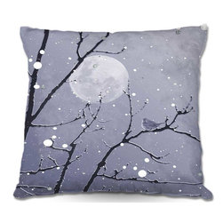 DiaNoche Designs - Pillow Woven Poplin from DiaNoche Designs by Monika Strigels Snowbird Blue Grey - Toss this decorative pillow on any bed, sofa or chair, and add personality to your chic and stylish decor. Lay your head against your new art and relax! Made of woven Poly-Poplin.  Includes a cushy supportive pillow insert, zipped inside. Dye Sublimation printing adheres the ink to the material for long life and durability. Double Sided Print, Machine Washable, Product may vary slightly from image.