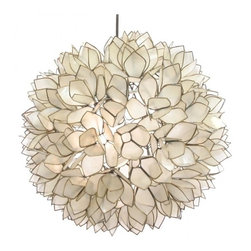 Lotus Flower Chandelier - I love this lamp, and this appears to be the most affordable option out there. It fits in anywhere, I think. But, with its capiz shell material it is perfect for bringing some sea life inside.