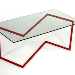 """Faktura - Jink 15"""" Coffee Table - Features: -Available in black matte, silver gloss or red gloss.-Update a lackluster living room with this modern design.-Zigzag pattern frame is made from matte black powder-coated steel and topped with tempered glass.-Fluid, geometric design of this piece makes it striking enough to stand out as a focal point in a room.-Distressed: No.-Country of Manufacture: United States.Dimensions: -Dimensions: 15'' H x 40'' W x 20'' D.-Overall Product Weight: 30 lbs."""