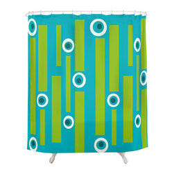 Crash Pad Designs - Renee Pedro Benny Shower Curtain - The fun doesn't have to stop at the bathroom door. Our funky shower curtain will make your bathroom smile.