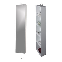 Macral - Due Rotating Mirror-Shelf Cabinet. Wenge, White - Due Rotating linen cabinet 12-inch wide, mirror in one side and shelves storage in the other one. The price ONLY includes the rotating cabinet, all the rest items such as the vanity, the faucet, linen mirror...are NOT INCLUDED, but can be sold separately. Cabinet can rotate 360°. Wall mounted and not drilling required on the floor. Cabinet made in MDF and oak veneer wenge finish lacquered or white high gloss lacquered.. Fixtures made in brass polished chrome. Very elegant for its unique style. Can be use in the bathroom, bedroom or any other indoor place. Beautifully coordinates with the Macral Roma bathroom vanity and the Macral Due mirror collection with shelf available to be purchased any time online in our houzz profile stock items. Designed and manufactured in Spain by Macral.