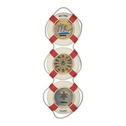 "Handcrafted Nautical Decor - Red Triple Lifering Welcome Aboard Clock 25"" - Decorative Nautical Wall Clock - This Red Triple Lifering Welcome Aboard Clock 25"" is a fun beach theme decoration. Three small liferings comprise this wall hanging clock. Featured on the top lifering is a sail boat out at sea. The middle life ring is where the time is displayed and is graced with various nautical knots to help tell the time. Finally, on the bottom life ring we have a ship wheel that is displayed in the center of the lifering. The words Welcome Aboard are prominently displayed on across the top and bottom of the life ring."