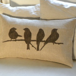 Birds on Branch Burlap Pillow Cover by The Nest UK - This burlap pillow with birds on a branch is perfect for feathering your nest with touches of the twig and branch theme.