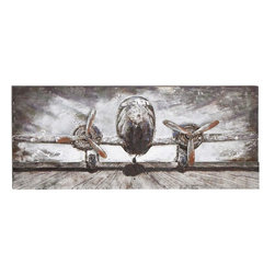 Benzara - Unique Wood Metal Wall Decor with Intricate Design - Wonderfully designed, this Wood Metal Wall Decor is sure to enhance interior aesthetics. This attractive Wood Metal Wall Decor features a unique design that is ideal for blending in with different settings and decors. It features vintage finishing that adds more characteristic look to the overall design. The decor piece sports an image of a plane from the front and is crafted with intricate detailing to give it a realistic appeal. It features a more vintage style that adds a distinctive look to the overall design and makes it perfect for incorporating in home and even office settings. This wall decor has a quality wood make and includes a bit of metal to ensure a sturdy and long lasting construction.