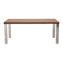 """Temahome - Multi 63"""" Table Top W/ Square Chrome Legs, Walnut / Chrome - The Multi table has a sleek linear design lending a minimalist complement from the hype and modern dining area to the creative working space. Available in different configurations from legs to tabletops, the Multi could not be named differently for its flexibility is only limited by your creativity."""