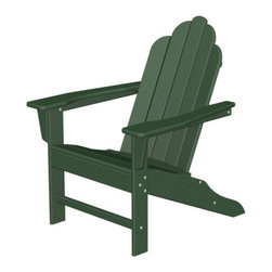 Polywood - 16 in. Eco-friendly Adirondack Chair in Green - You certainly don't need a home in the Hamptons to enjoy the classic, yet festive, Long Island Collection. You will strike a happy balance between laid-back comfort and fashion-forward style when you add the Polywood Long Island Adirondack to your outdoor living space. It is a chair that offers more than good looks, though.