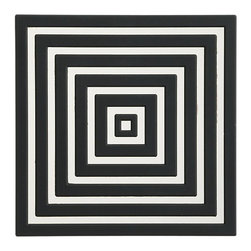 PVC Black Coaster - The graphic goodness of these black and white coasters will up the ante in any room. The added bonus? The bold lines make them hard to miss.