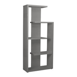 Stylized Shelf Unit in Gray - This sturdy unit offers modern form, style and function for your books and tchotchkes. It uses vertical and horizontal lines in non-intersecting layers, allowing each to be independent and unobstructed.