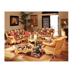 Spice Island Wicker - 6 Pc Woven Rattan Living Room Set in Cinnamon (Hokena Oasis - All Weather) - Fabric: Hokena Oasis (All Weather)Any one of these six beautiful pieces of furniture alone is enough to make your home shine.  With all six of them, it will positively glow!  The exquisite armchair, beautiful loveseat, gorgeous sofa, sturdy ottoman, stunning coffee table, and supremely useful end table all combine to make a completely unrivaled furniture set from heaven!  Create the warmth of rays bursting into a room in the afternoon sun.  Sofa, loveseat, and armchair are accompanied by an ottoman plus coffee and end tables. * Includes Sofa, Loveseat, Armchair, Ottoman, Coffee Table & End Table. Solid Wicker Construction. Cinnamon Finish. For indoor, or covered patio use only. Includes all cushions and glass. Armchair: 35 in. W x 41 in. D x 36.5 in. H. LoveSeat: 57 in. W x 41 in. D x 36.5 in. H. Sofa: 81 in. W x 41 in. D x 36.5 in. H. Ottoman: 35 in. W X 19.5 in. D X 18.5 in. H. End Table: 18.5 in. W x 24 in. D x 21.5 in. H. Coffee Table: 44 in. W x 24.5 in. D x 18 in. H