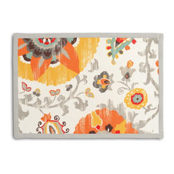 Orange Suzani Tailored Placemat Set - Class up your table's act with a set of Tailored Placemats finished with a contemporary contrast border. So pretty you'll want to leave them out well beyond dinner time! We love it in this eclectic orange, yellow & gray outdoor print where suzani meets sunshine.