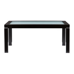 SEI - Brennan Cocktail Table - Simplicity speaks volumes, especially in the home! The sleek, simple design of this cocktail table will add style and dimension to your living room. This cocktail table features a contemporary painted black finish and clean, linear form. A lovely frosted glass inset contrasts the black frame for an exquisite appearance; small silver accents between the legs and table top complete the balanced design. This cocktail table looks great in family rooms or living rooms with transitional or modern decor, and the linear form works well for rooms large or small.
