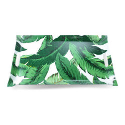 Palm Leaf Tray - Trays are fun for creating those perfect coffee table vignettes. Add a splash of color with this palm leaf pattern tray.