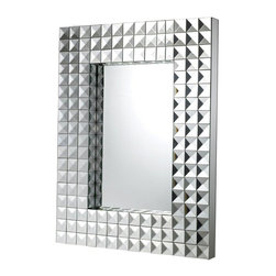 "Sterling Industries - Sterling Industries Axton Transitional Rectangular Mirror X-9591MD - Rows upon rows of pyramids create a dazzling appearance for this Sterling Industries rectangular mirror. From the Axton Collection, the gridded frame of this transitional mirror provides a dramatic look for any room, while the mirror tones ensure it will compliment any color scheme. Mirror size: 12"" W x 18"" H"