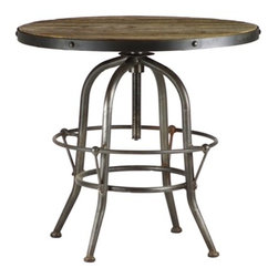 Rand Side Table - This rustic side table has a modern twist with its distressed wood top and industrial metal base.