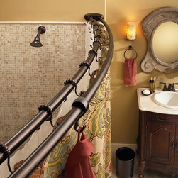 Moen - Moen Old world bronze curved shower rod - Moen.com.  Considering for our walk-in showers.  Summer 2013.