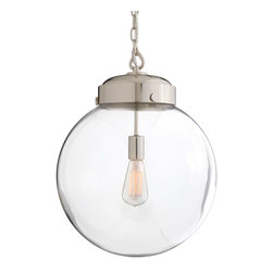"""Arteriors - Arteriors Reeves Large Pendant - Stylishly simple, the Reeves pendant by Arteriors lights a space from overhead with its chic industrial design. Polished nickel tops its large clear glass orb. 15"""" Dia. x 19""""H; Glass and steel; Accepts 60 watt max bulb (not included)"""