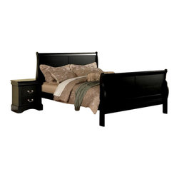 "Acme - 5-Piece Louis Philippe III Collection Black Finish Wood Queen Bedroom Set - 5-Piece Louis Philippe III collection black finish wood queen bedroom set with curved ends sleigh bed headboard and panel footboard. This set includes the queen bed set, one nightstand, dresser, mirror and chest. Queen sleigh bed features a curved ends sleigh bed headboard and panel footboard. Nightstand measures 27"" x 16"" x 27"" H. Dresser measures 60"" x 18"" x 36"" H. Mirror measures 36"" x 41"" H. Chest measures 38"" x 18"" x 53"" H. Some assembly may be required. Cal king and Eastern king, Full and Twin available at additional cost."