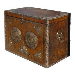 Golden Lotus - Oriental Tibetan Silver Hardware Leather Rectangular Trunk Table - This is an old trunk with a layer of leather covered. The edge and the front is decorated with silver hardware with Tibetan style motif. It is a collectible decorative piece in the modern home from its rich vintage oriental accent element.
