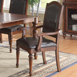 Coaster - Anson Arm Chair, Set of 2 - Crafted from select hardwoods and cherry veneers, this formal dining set offers classic elegance to warm any home. Standing on four classically turned legs, the rectangular dining table offers one 18 leaf that graciously allows you to provide your guests with a little more elbow room. The cushion chairs offer a most comfortable place to sink into with their vinyl upholstery. Completed in a rich brown finish, this collection will make a most alluring addition in any home.