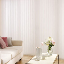 """Blinds.com Vertical Blinds - Fabric Verticals. Whites and off-whites,Neutrals an - Fabric Verticals - Buy with Confidence, Get Free Samples Today!A practical alternative to drapes and a great solution for sliding patio doors, our 3 1/2"""" fabric vertical blind collection offers soft, luxurious, light filtering fabrics at an excellent value. We have carefully selected patterns that simultaneously provide daytime privacy, block out the harshest sunlight, and  allow sunlight to gently filter through them, creating a warm ambience for your home."""