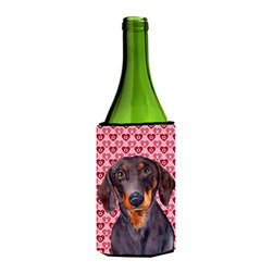 Caroline's Treasures - Dachshund Hearts Love Valentine's Day Portrait Wine Bottle Koozie Hugger - Dachshund Hearts Love and Valentine's Day Portrait Wine Bottle Koozie Hugger LH9133LITERK Fits 750 ml. wine or other beverage bottles. Fits 24 oz. cans or pint bottles. Great collapsible koozie for large cans of beer, Energy Drinks or large Iced Tea beverages. Great to keep track of your beverage and add a bit of flair to a gathering. Wash the hugger in your washing machine. Design will not come off.
