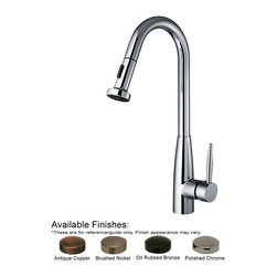 Whitehaus Collection - Whitehaus WH2070838-PC Polished Chrome Single Hole Faucet With A Gooseneck - Jem Collectin single hole faucet with a gooseneck swivel spout, pull-down spray head, and lever handle