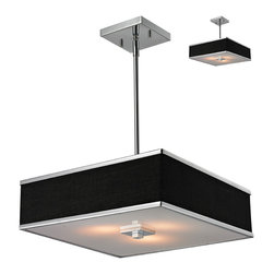 Z-Lite - Rego Chrome 3-Light Pendant - The contemporary Rego family features a ribbon of color framed with a metal trim. Each shade has an acrylic diffuser to soften the light. This series features black shades with chrome bands and hardware.