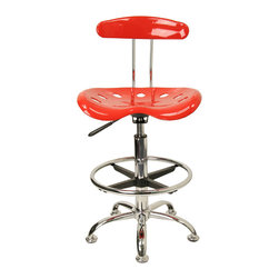 """Flash Furniture - Vibrant Red and Chrome Drafting Stool with Tractor Seat - Quality chair at an amazingly affordable price! This sleek, modern stool conforms to several areas in the home or office. The molded tractor seat offers great comfort. The height adjustable capability of this stool allows you to use the stool at the dining table and bar table and anywhere in between.; Tractor Stool; Red Molded """"Tractor"""" Seat; High Density Polymer Construction; 10"""" Height Range Adjustment; Pneumatic Seat Height Adjustment; Height Adjustable Chrome Foot Ring; Chrome Frame and Base; Black Plastic Floor Glides; Assembly Required: Yes; Country of Origin: China; Warranty: 2 Years; Weight: 19 lbs; Dimensions: 32 - 40.5""""H x 17""""W x 16.5""""D"""