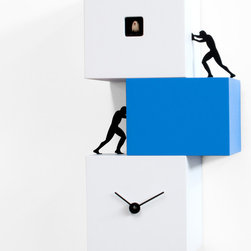 Progetti - Strong Cucu White/Blue Wall Clock - Strong Cucu 2272 Wall-Mounted/ Table Top Cuckoo Clock in White/Blue, Cuckoo Clock Table Top orWall-Mount Installation, Made of Painted Wood, Made in Italy