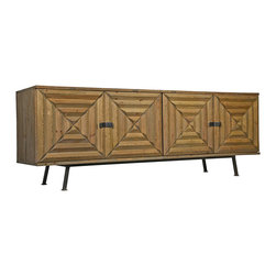 Kathy Kuo Home - Berna Global Bazaar Reclaimed Wood Metal Sideboard - Repurposed fir wood and textured metal combine to create a rustic sideboard. The impressive dimensions of this storage piece are finished in a natural, weathered stain. Four large, shutter-patterned doors cover shelves that store all of your necessities. Slim, understated metal legs complete this classic cabinet.