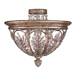 Fine Art Lamps - Winter Palace Semi-Flush Mount, 300440ST - Add stately sparkle to your favorite formal setting. Made of steel and finished in a warm antiqued silver, this semi-flush dome features brilliant feathered and cascading lead crystals.