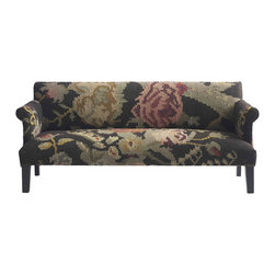 Kathy Kuo Home - Large Floral Modern Rustic Kilim Dhurry Upholstered Sofa - What a unique concept — the carpeted couch! This beauty features a sturdy frame of kiln-dried hardwood and a comfy feather-down seat, upholstered in handwoven kilim.  Stately, subtle and entirely unique, it's definitely an interesting piece for your decor.