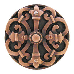 """Notting Hill - Notting Hill Chateau Knob - Antique Copper - Notting Hill Decorative Hardware creates distinctive, high-end decorative cabinet hardware. Our cabinet knobs and handles are hand-cast of solid fine pewter and bronze with a variety of finishes. Notting Hill's decorative kitchen hardware features classic designs with exceptional detail and craftsmanship. Our collections offer decorative knobs, pulls, bin pulls, hinge plates, cabinet backplates, and appliance pulls. Dimensions: 1-5/8"""" diameter"""