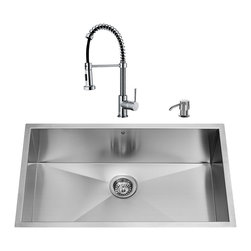 """VIGO Industries - VIGO All in One 30-inch Undermount Stainless Steel Kitchen Sink and Chrome Fauce - Give your kitchen a complete makeover with a VIGO All in One Kitchen Set featuring a 30"""" Undermount kitchen sink, faucet, soap dispenser, matching bottom grid and sink strainer."""