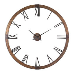 "Uttermost - Amarion 60"" Copper Wall Clock - This oversized clock features hammered copper sheeting with a light gray wash and aged black details. Center hands movement is separate from the outside frame. Uses one aa battery. Some assembly required."