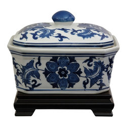 Oriental Unlimted - 7.25 in. Wide Blue & White Floral Porcelain C - Rosewood stand sold separately. Simple, beautiful small lidded box. Great for storing small objects. This item shot with the stand for illustration purposes, the stand is sold separately. Please select the 6 in. W x 4 in. H size of Rosewood Rectangular Stand.. 7.25 in. W x 5.5 in. H (2.5 lbs.)