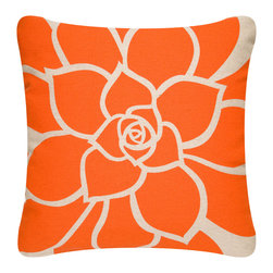 Wabisabi Green - Bloom Outdoor Eco Pillow, Tangerine/Papyrus, With Insert - What a piquant pillow! With one great big orange bloom, designed and hand-printed in America with environmentally safe inks, it'll punch up your contemporary setting.