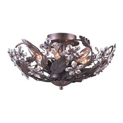 Crystorama - Crystorama Abbie Flush Mount Ceiling Fixture in Dark Rust - Shown in picture: Abbie Collection Hand Cut Crystal Semi Flush; Abbie Collection offers casual yet elegant - whimsical and chic chandeliers - wall sconces - and ceiling mounts.