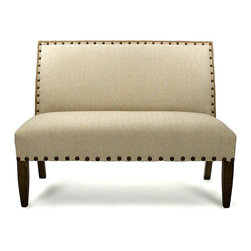 #100 Bench - Bring tactile interest and additional comfort to your home without excessive adornment when you choose the #100 Bench for the foot of your bed, the wall below your window, or the place across from your beloved high-end sofa. With jute and linen upholstery edged in bronze nailhead trim, this armless, tall-backed loveseat defines handsome surroundings.